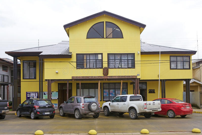 City Hall of Qunchao, Chiloe archipelago, Chile stock photography