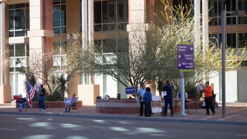 City Hall Rally, Phoenix, AZ. PPHENIX, AZ - FEBRUARY 4, 2017: A group of politically active people rallying near Phoenix City Hall in support of Legal Only royalty free stock images