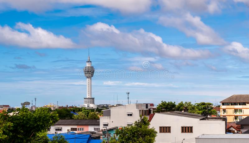City Hall samutprakarn thailand,. Tower on a clear day royalty free stock photo
