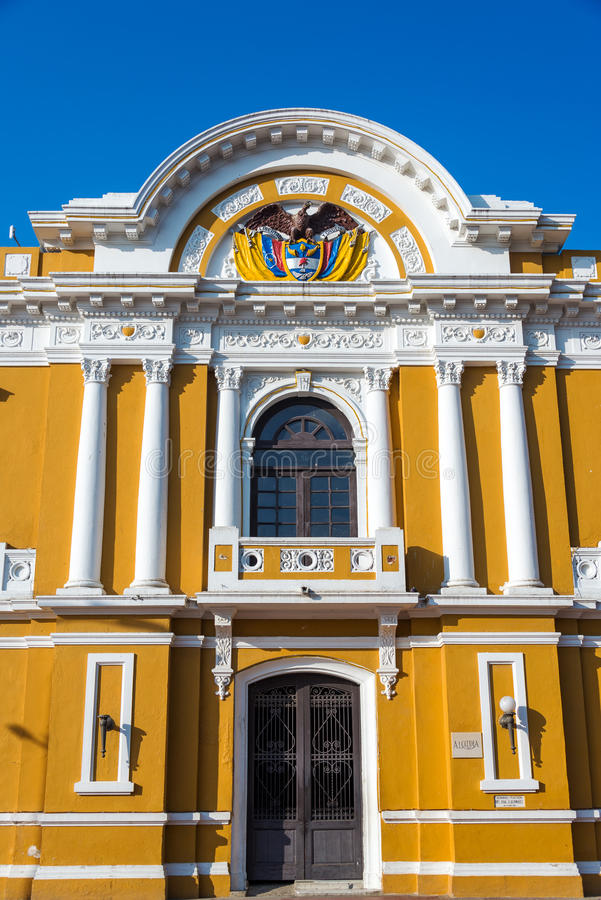 City Hall of Santa Marta. Colombia with a deep blue sky royalty free stock image