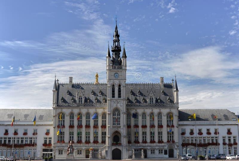 City hall of sint-niklaas in Belgium. Blue sky stock photo