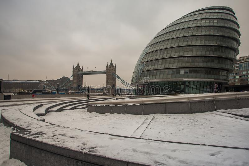 City Hall in the snow, London, UK royalty free stock photography