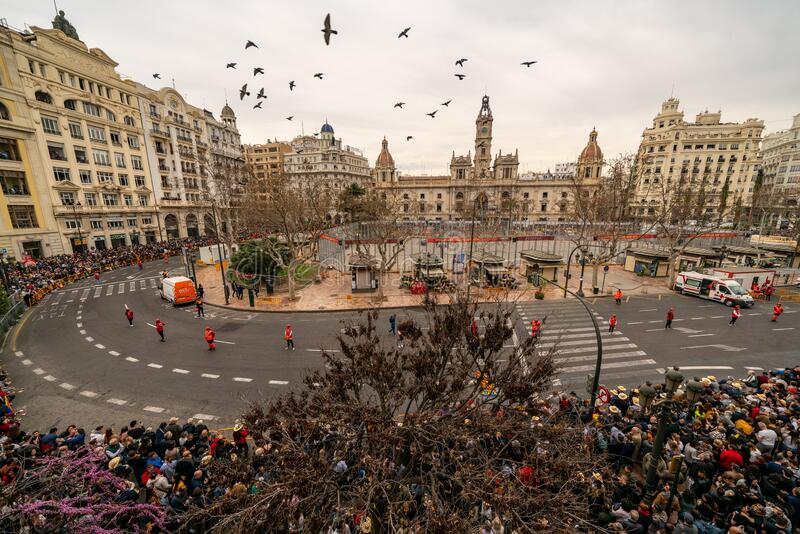 City hall square with fireworks exploding at Mascleta during the Las Fallas festival in Valencia Spain on March 6, 2019 royalty free stock image