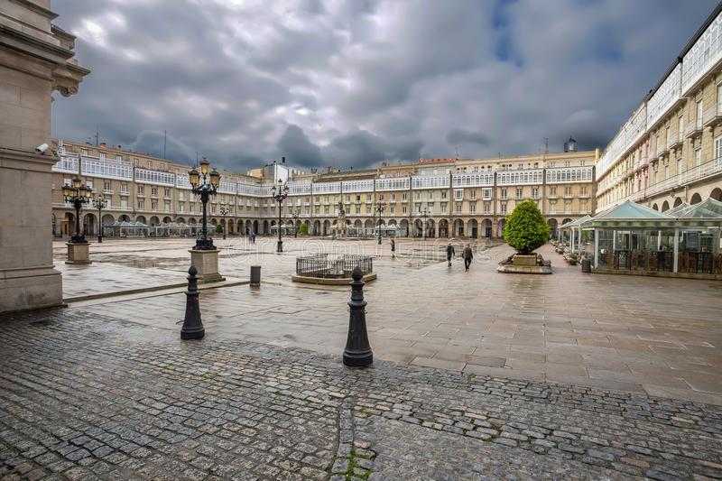 City Hall and statue of Maria Pita on Square on Maria Pita popular vacation spot among locals and tourists, A Coruna, Spain. Europe stock photo