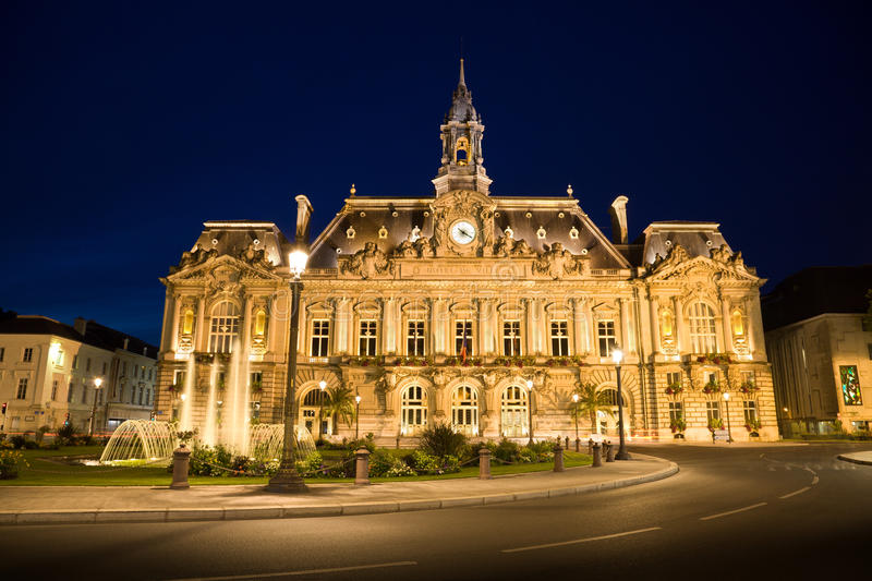 Download City Hall Of Tours Town At Night Stock Photo - Image: 13290746
