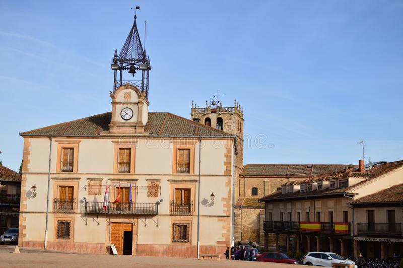 City Hall In Town Square Of Riaza Cradle Of The Red Villages In addition Of Beautiful Medieval Town In Segovia. Architecture Lands royalty free stock photography
