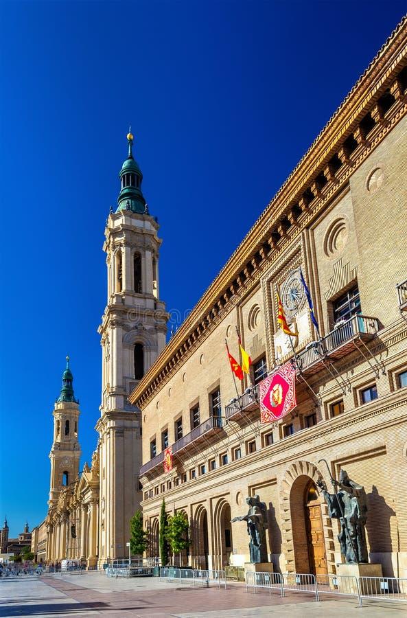 The City Hall of Zaragoza - Spain, Aragon. The City Hall and the Basilica of Zaragoza - Spain, Aragon stock image
