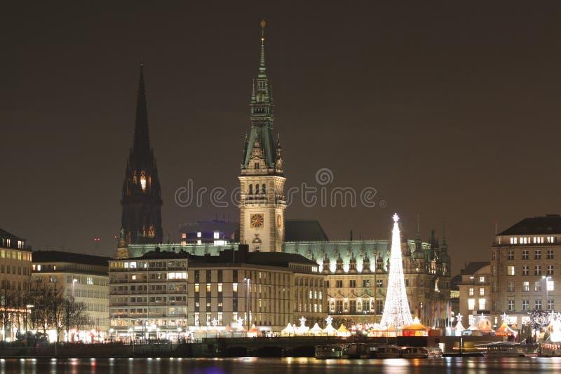City of Hamburg at night stock photography