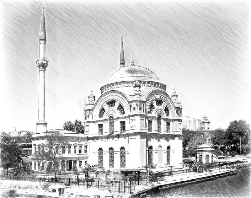 City hand drawn. Stambul palace sketch.  royalty free stock photography