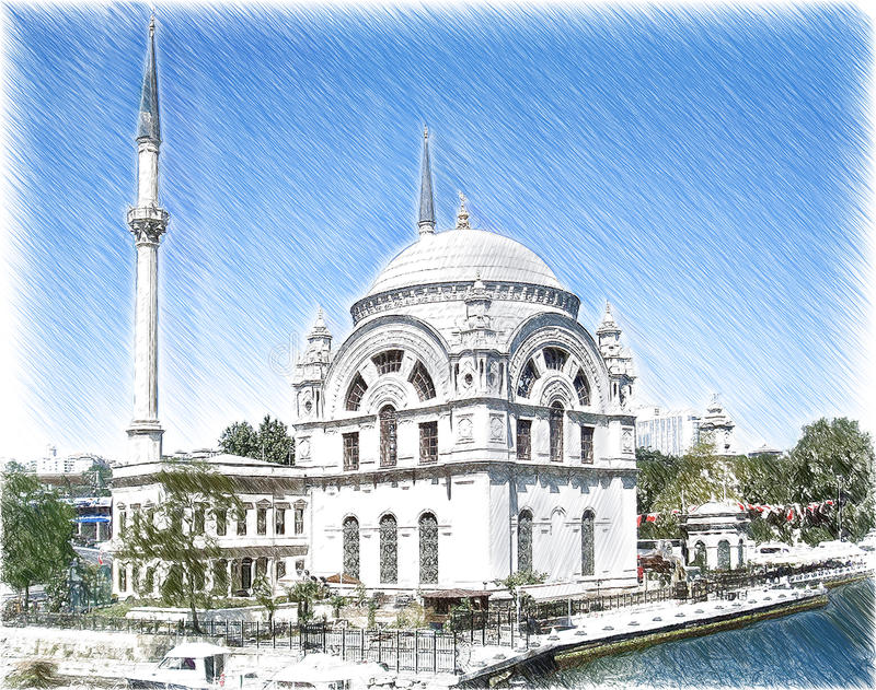 City hand drawn. Stambul palace sketch. City hand drawn. Stambul palace sketch royalty free stock image