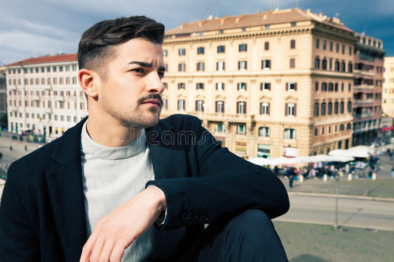 City handsome man, fashion modern hair stock images