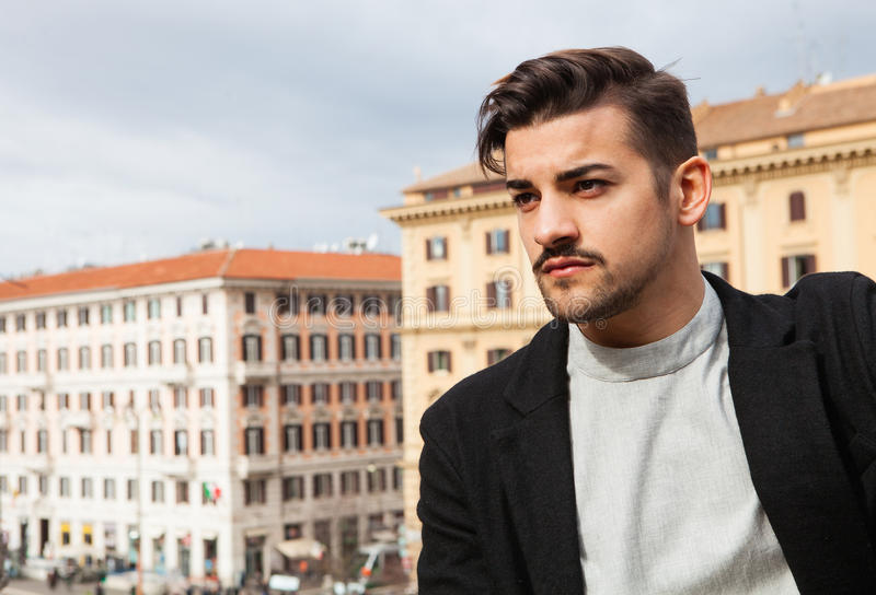 City handsome man, fashion modern hair royalty free stock photography