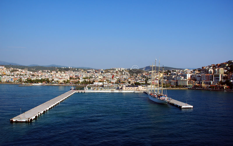 City and harbor at Kusadasi-bird island royalty free stock image