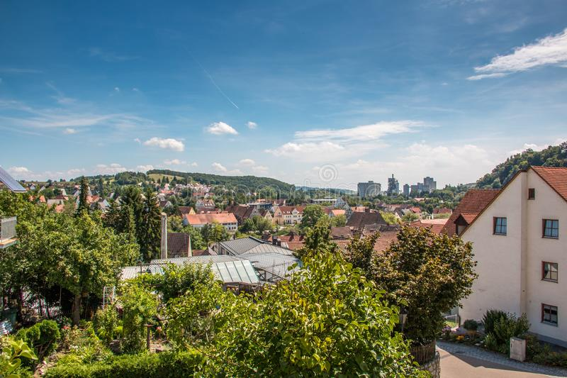 City of Harburg with a view of the cement plant, Swabia, Germany royalty free stock photo