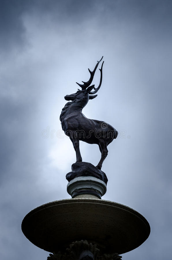 City of Hartford Connecticut. Statue of a stag , deer at the Hartford state capitol royalty free stock image