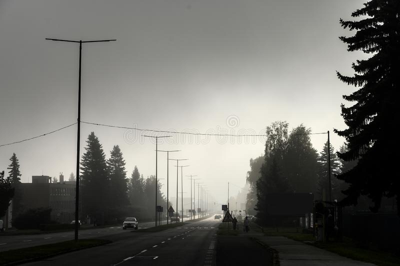 City in haze at day, air pollution concept photo royalty free stock image