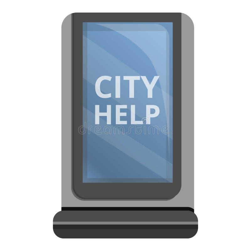 City help light box icon, cartoon style stock illustration