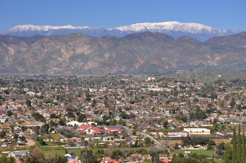 City of Hemet, California. Hilltop view of Hemet, California with Mount San Gorgonio in the background stock images