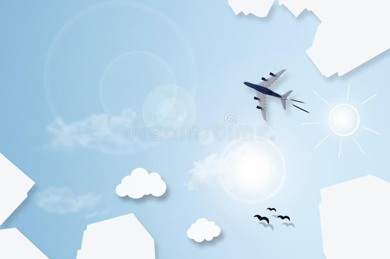 Big city skyscrapers flat lay abstract with plane flying over sk royalty free stock photo