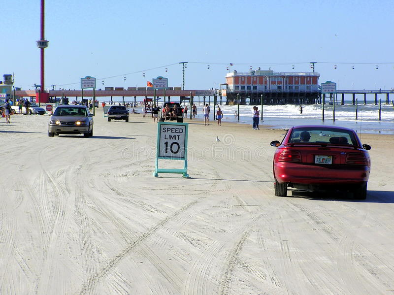 Daytona Beach allows vehicles to drive on the beach royalty free stock image