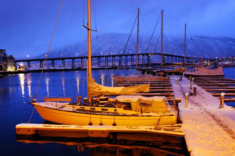The harbour of Tromso considered the northernmost city in the world. The city is home to the world`s northernmost university and also houses the northernmost stock photography