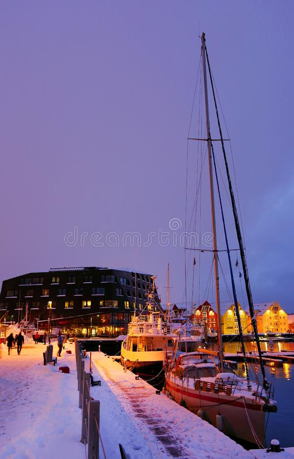 The harbour of Tromso considered the northernmost city in the world. The city is home to the world`s northernmost university and also houses the northernmost stock image