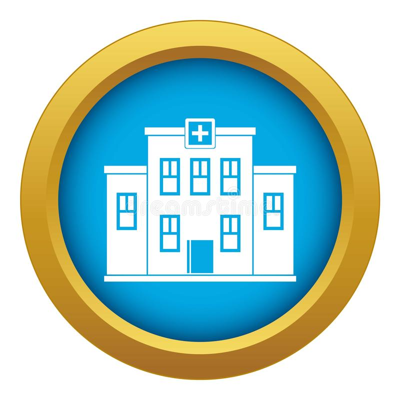 City hospital building icon blue vector isolated royalty free illustration