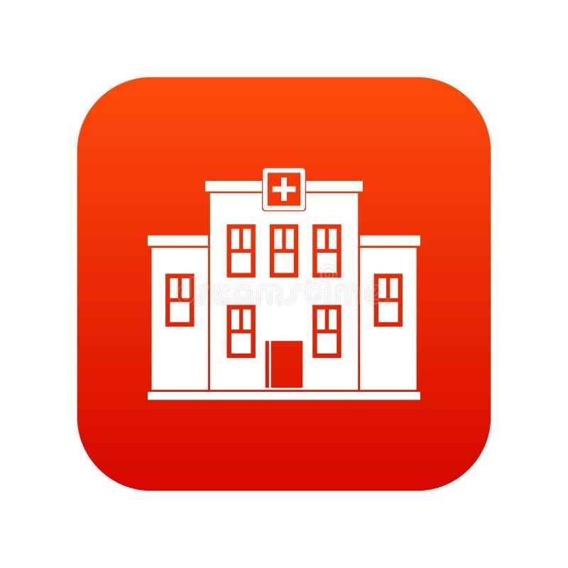 City hospital building icon digital red royalty free illustration