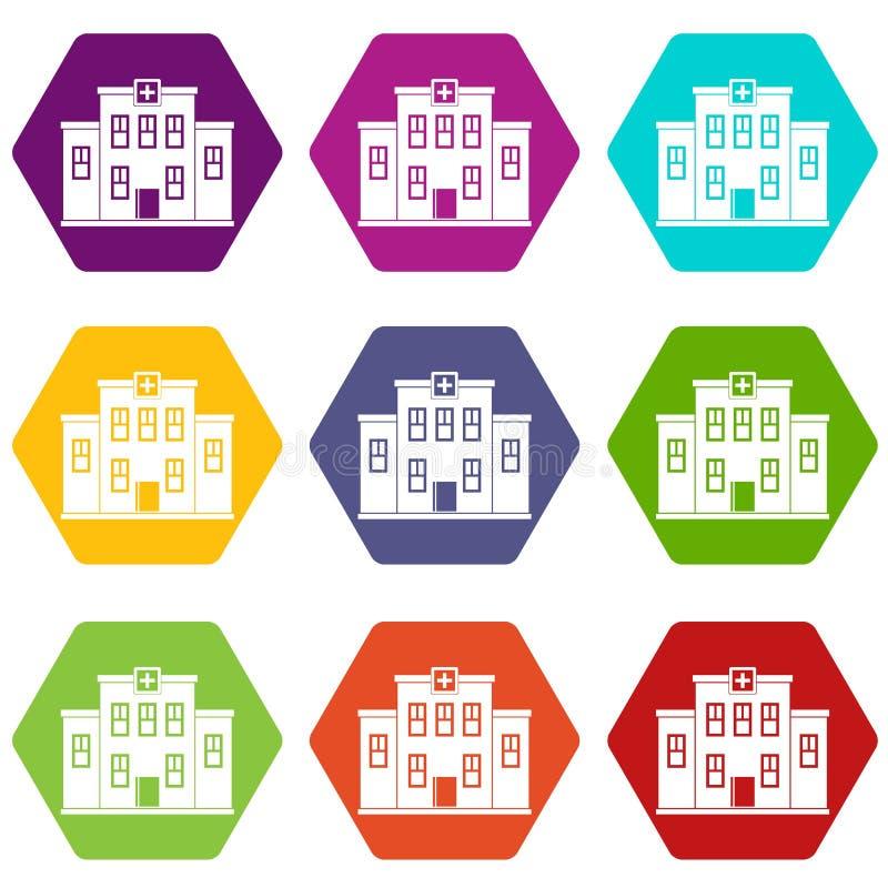 City hospital building icon set color hexahedron vector illustration
