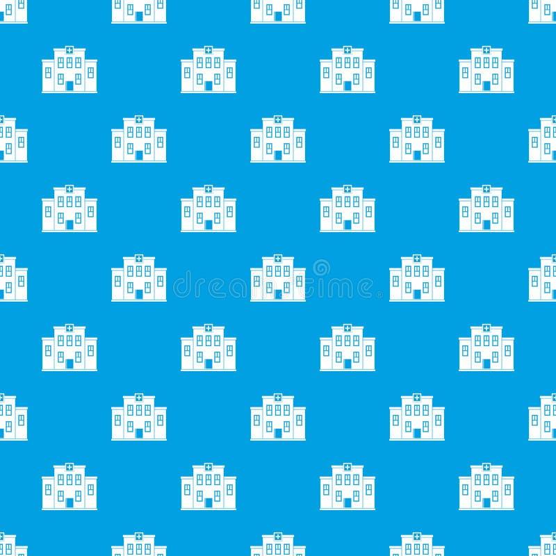 City hospital building pattern seamless blue vector illustration