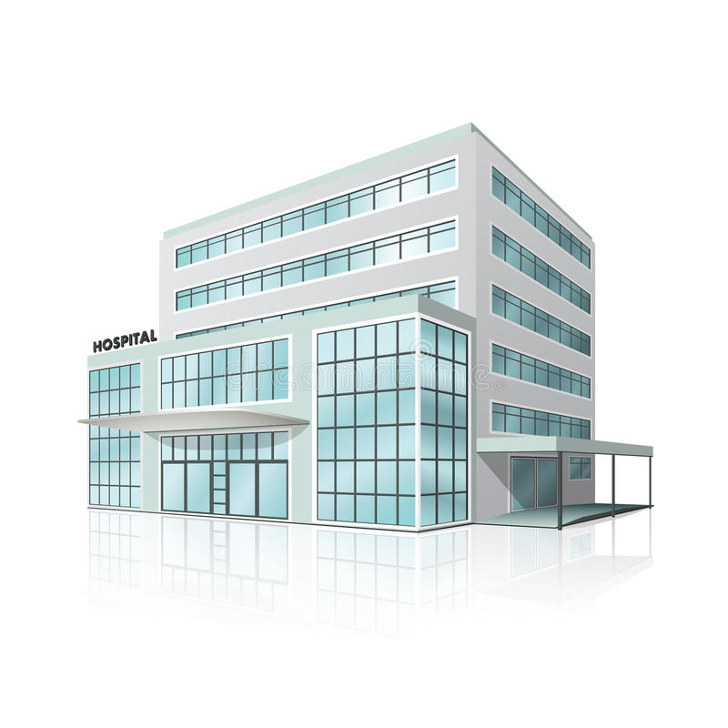 City hospital building with reflection stock photos
