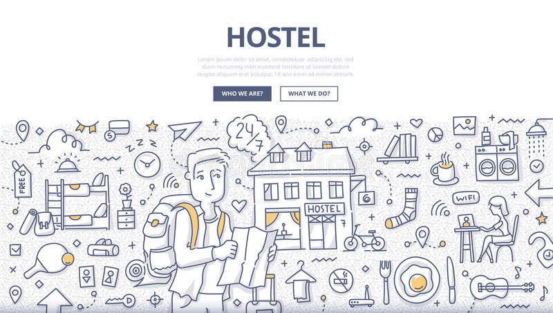 City Hostel Doodle Concept. Doodle illustration of a man with backpack and map in hands who is looking for hostel. Concept of low-cost budget traveling and royalty free illustration