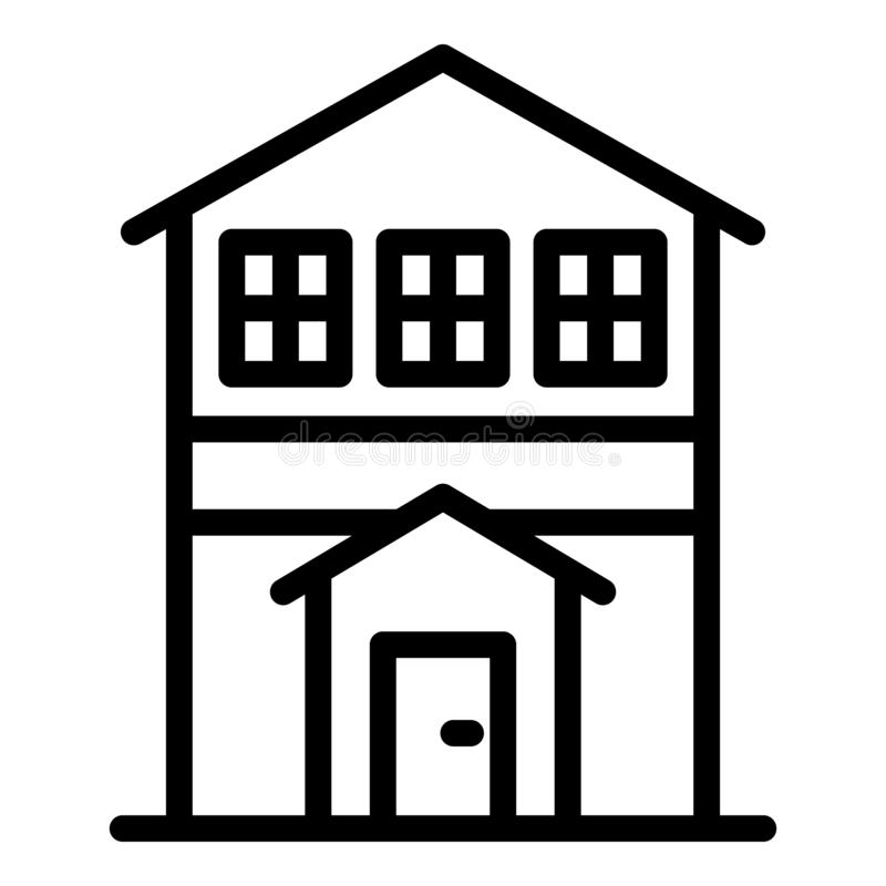 City house front view icon, outline style stock illustration