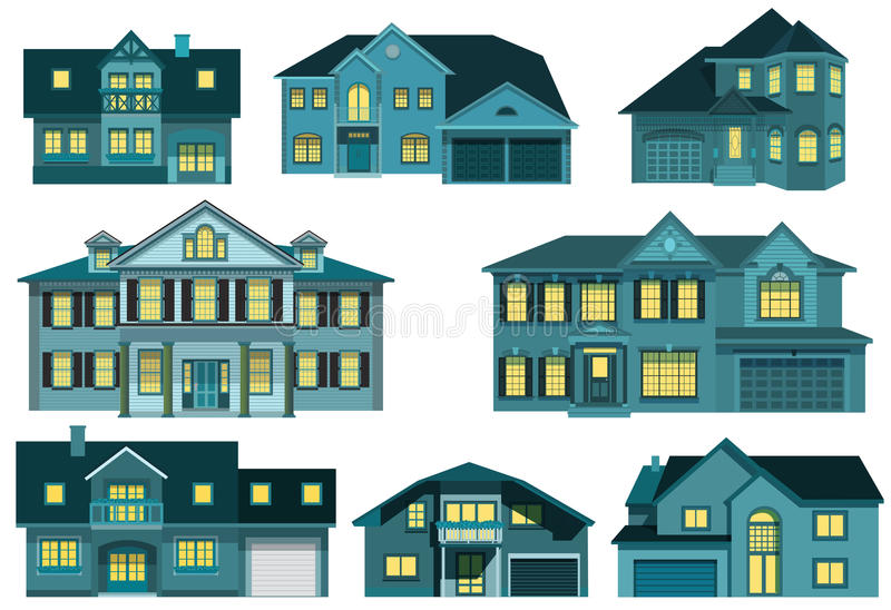 City houses (night) royalty free illustration