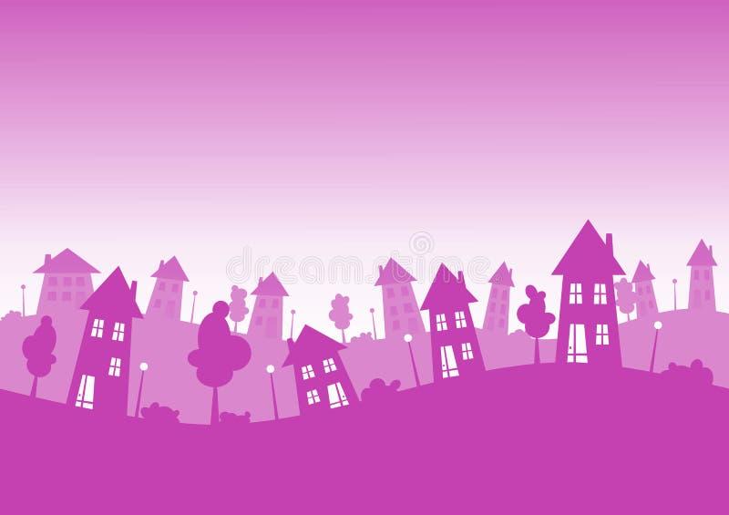 City Houses Skyline Pink stock illustration