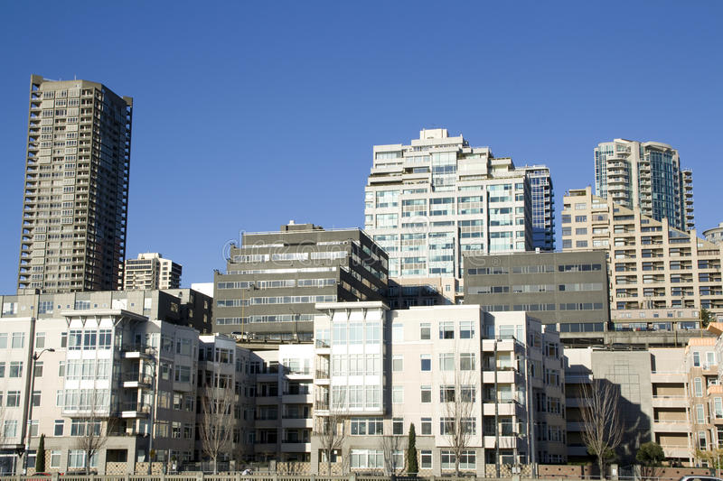 City housing living apartments buildings stock photography