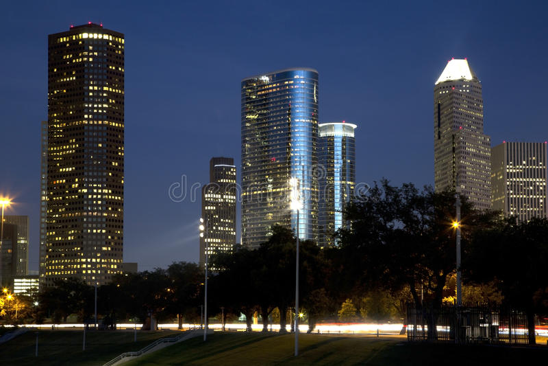 City Houston at night stock photo