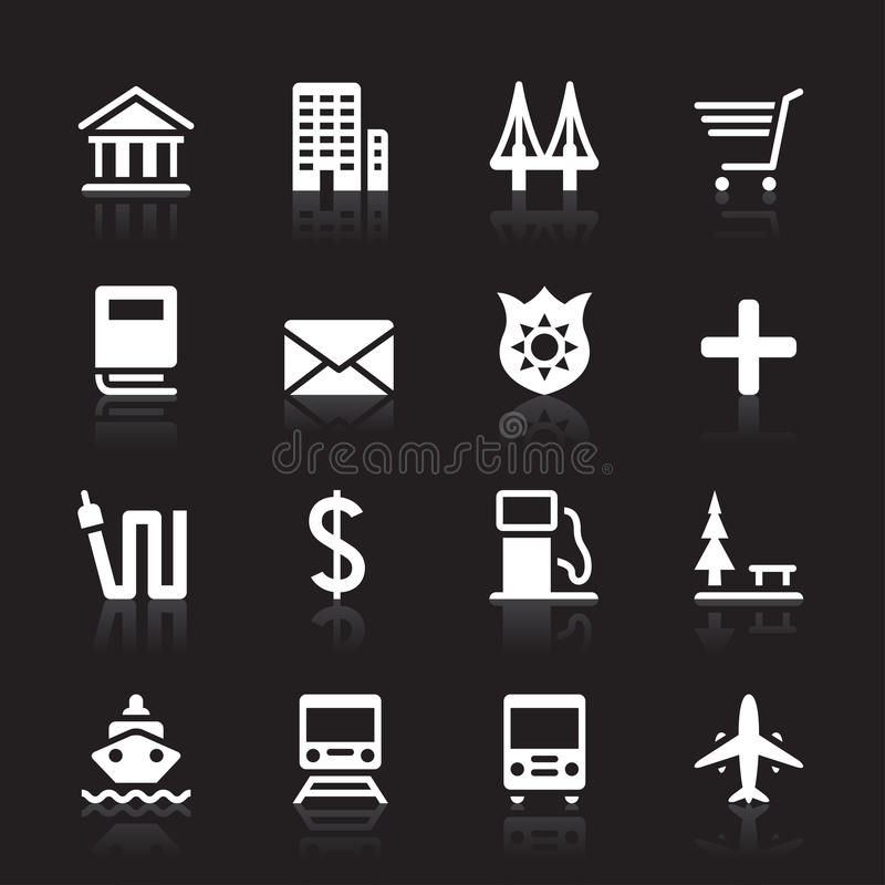 City Icon Set. 16 city sign icons They can be used in various design The additional file contains an AI8 EPS vector file royalty free illustration