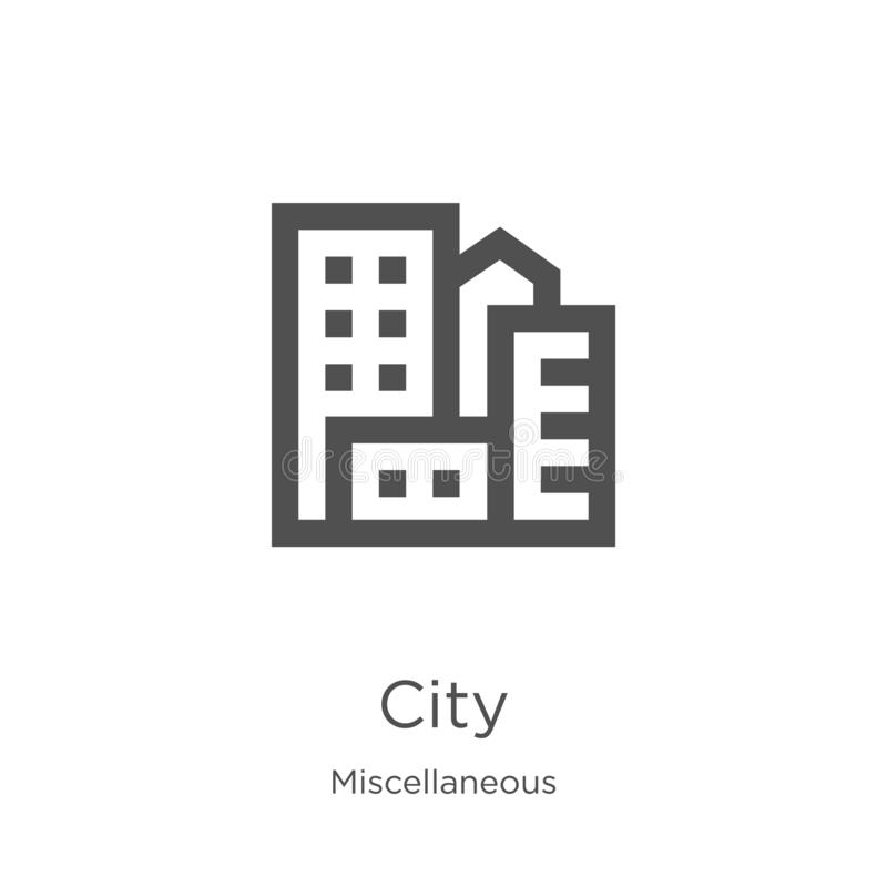 city icon vector from miscellaneous collection. Thin line city outline icon vector illustration. Outline, thin line city icon for stock illustration