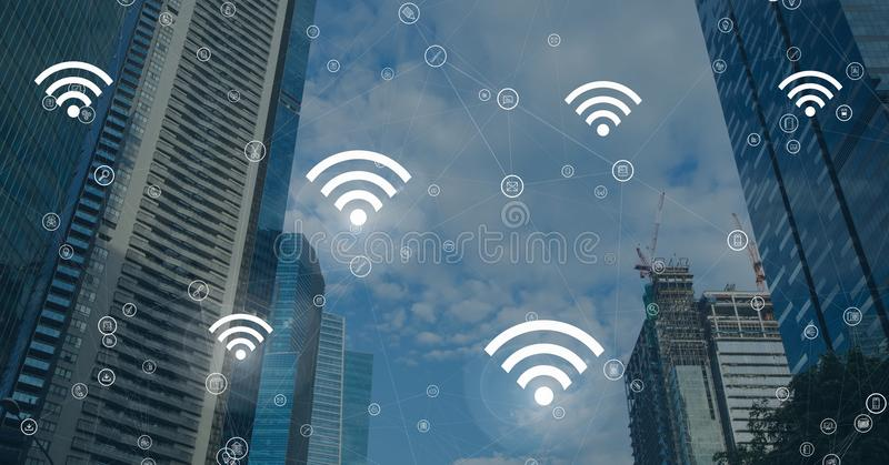 City with icons of wifi. Digital composite of City with icons of wifi royalty free illustration
