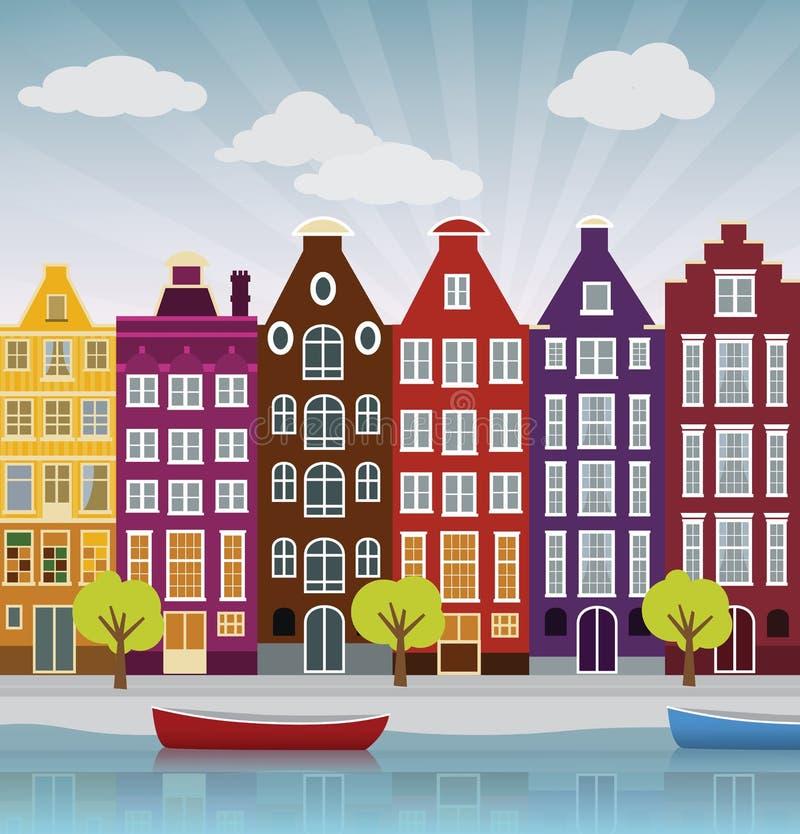 City illustration (Amsterdam) stock illustration