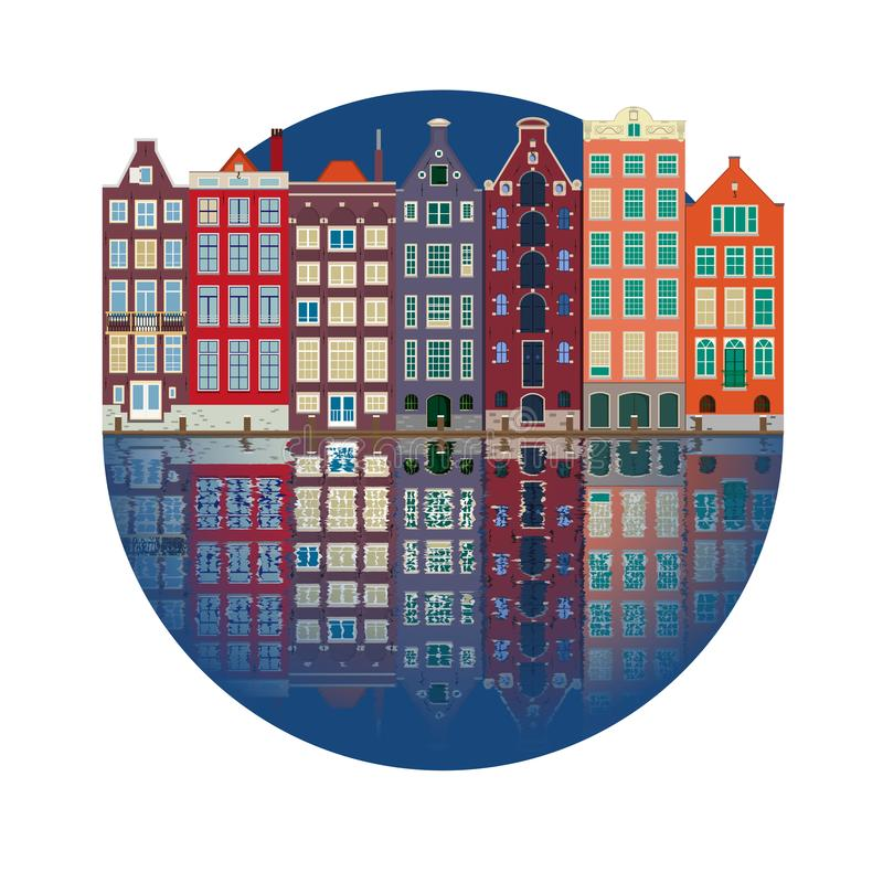 City illustration of the canal houses of Amsterdam stock illustration