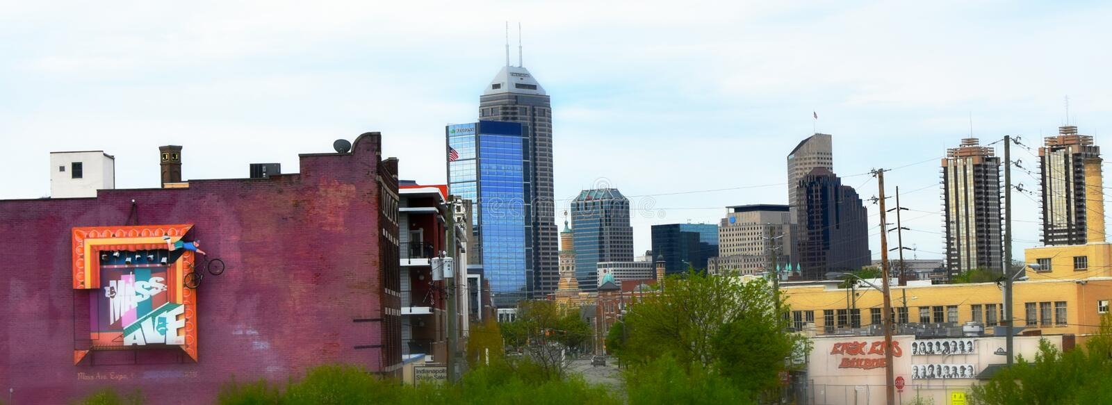 City of Indianapolis, Indiana. The city of Indianapolis, Indiana cityscape with Mass Ave. Sign royalty free stock photography