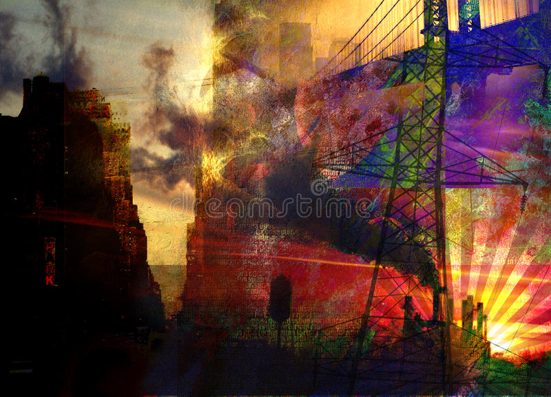 City Industrial Abstract vector illustration