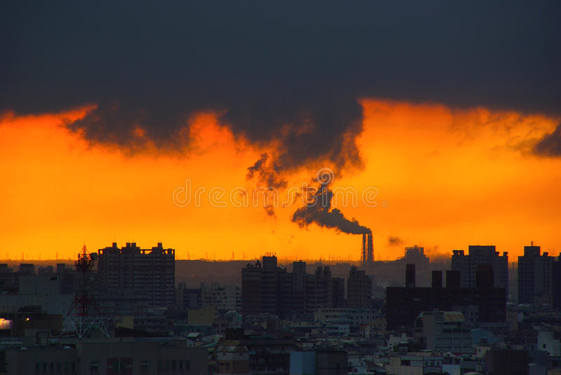 City and industrial pollution royalty free stock photo