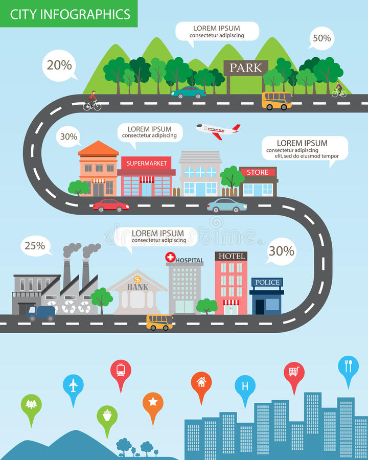 City infographics royalty free illustration