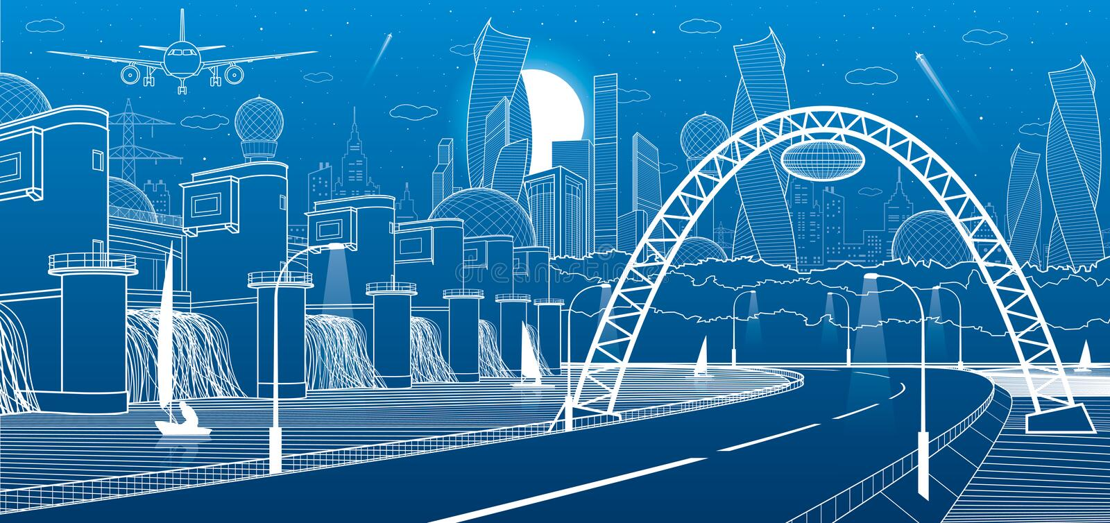 City infrastructure industrial and energy illustration. Hydro power plant. River Dam. Automobile road. Illuminated highway. White vector illustration