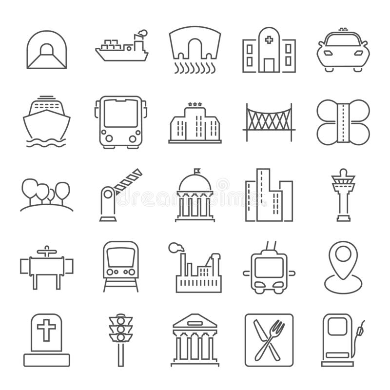 City infrastructure line icons set for web and mobile design royalty free stock photos