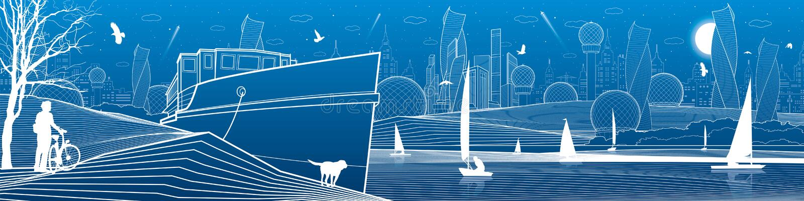 City infrastructure panoramic illustration. Cyclist with dog under tree. Ship landed at sea shore. Sailing yachts by water. Futuri stock illustration