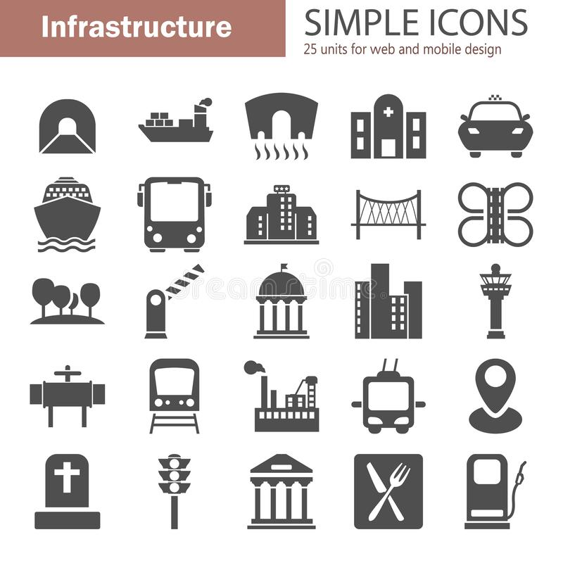 City infrastructure simple icons set for web and mobile design stock image